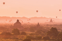 Bagan, Myanmar from the top of a temple at 5am looking out to all those wonderful Balloons over Bagan