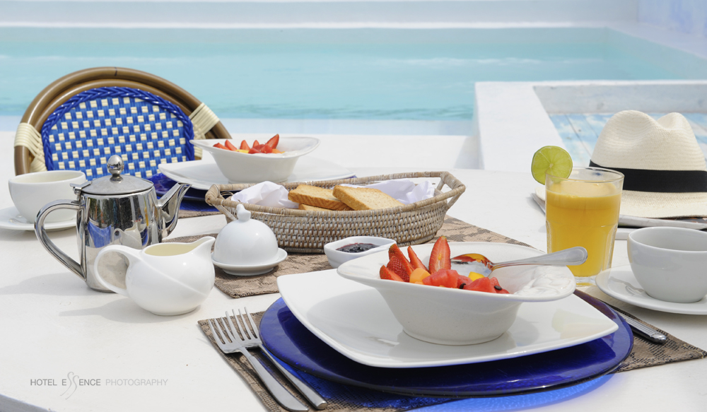 Breakfast is served, by the pool, on the roof terrace