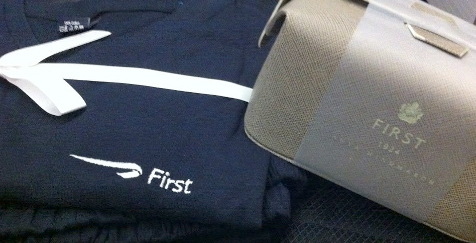 BA sleepsuit and very cute amenities bag.