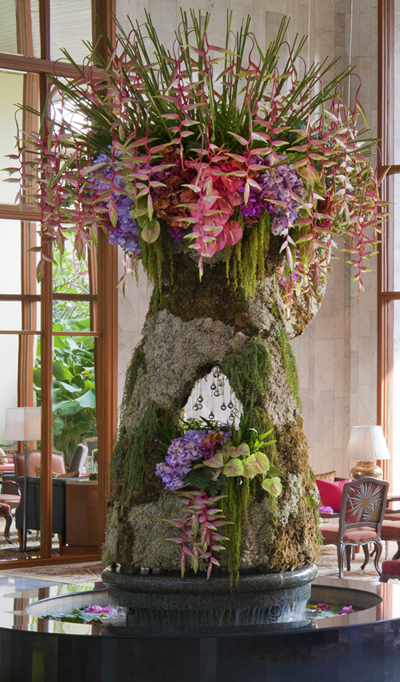 Mandarin Oriental Bangkok Hotel lobby, their floral piece de resistance.