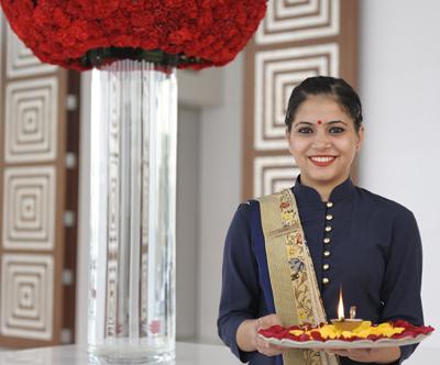 Oberoi Gurgaon New Delhi, a floral welcome.