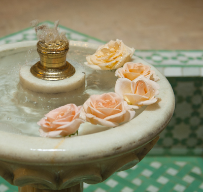 The trickling courtyard fountain of Riad La Maison Blanche, Tangiers