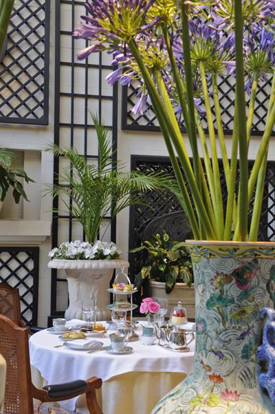 The elegant, flower filled winter Garden at the Alvear Hotel