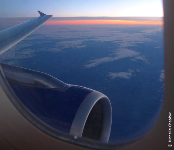 The Sun coming up over France on BA2622 to Nice