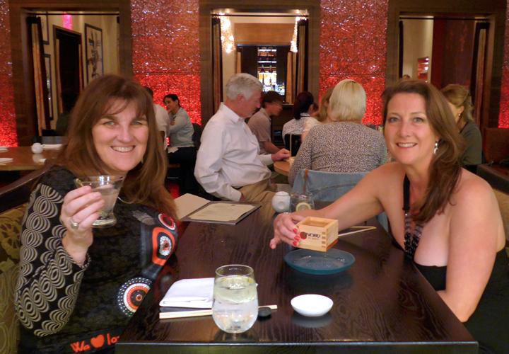 Cheers! Lychee and Elderflower Martinis and Sake at Nobu LA.