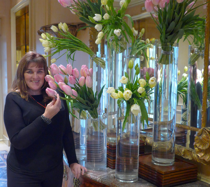 Vases and vases of freshly cut tulips