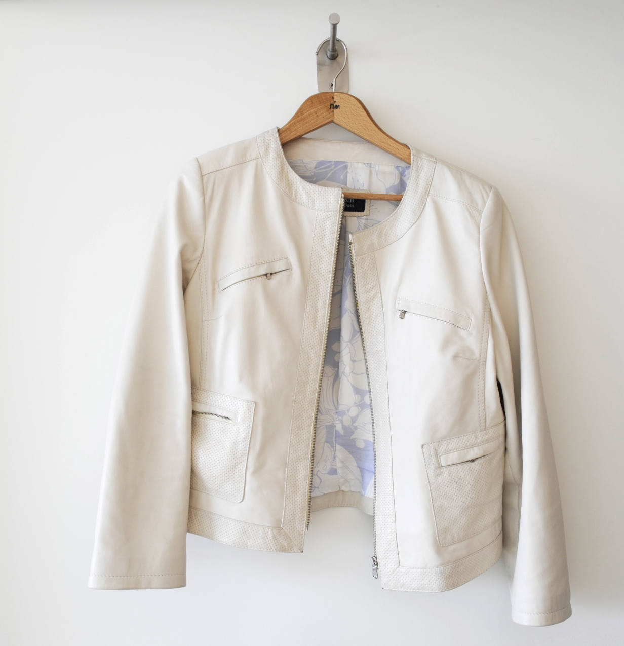 I did hang a beige leather jacket, which blended perfectly into the scene.
