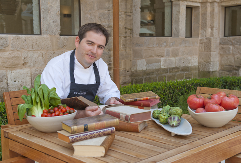 Head Chef Pablo Montero dreaming up new recipes in the Cloister Garden.