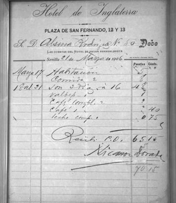 1905 Hotel Bill