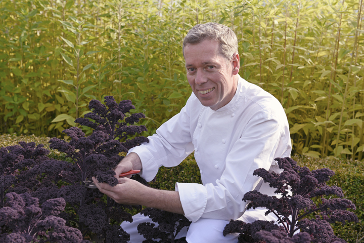 Executive chef David McCann collecting organic vegetables from the Dromoland Gardens