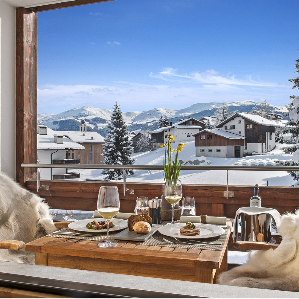 A picture postcard scene at La Val ,ountain Spa . switzerland