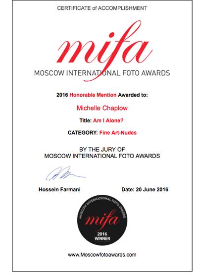 Certificate Michelle Chaplow MIFA