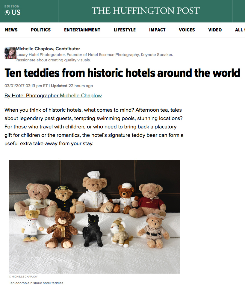 Huffington Post. Ten Teddies from Historic Hotels by Michelle Chaplow