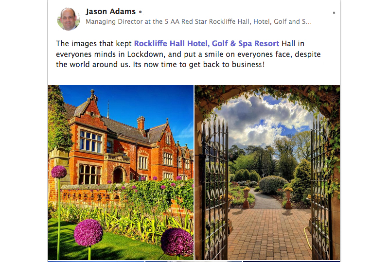 Jason Adams posting hotel photos during the Rockliffe Hall Lockdown