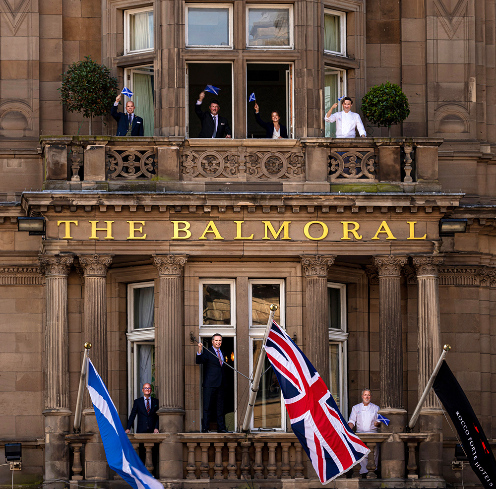 The Balmoral's General Manager, Richard Cooke, and his team celebrate the reopening of the Edinburgh hotel on 1st August 2020. Picture credit - ROCCO FORTE HOTELS.