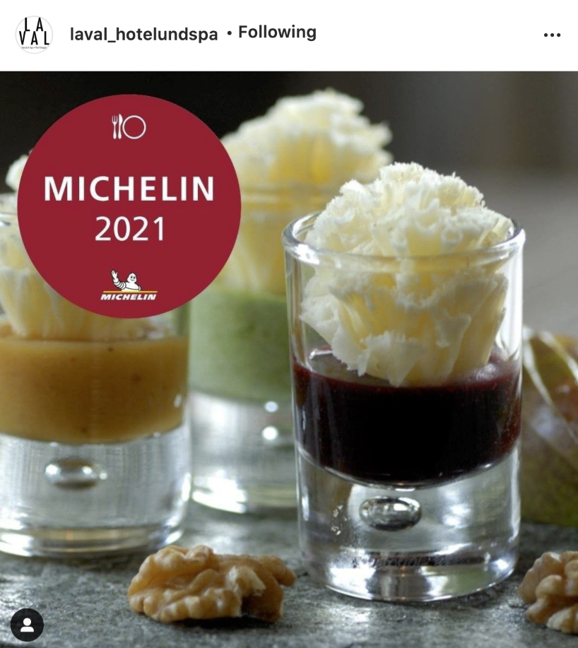 A socal media food photography image used to announce the entry of La Val´s Ustria Miracla restaurant in the Michelin guide