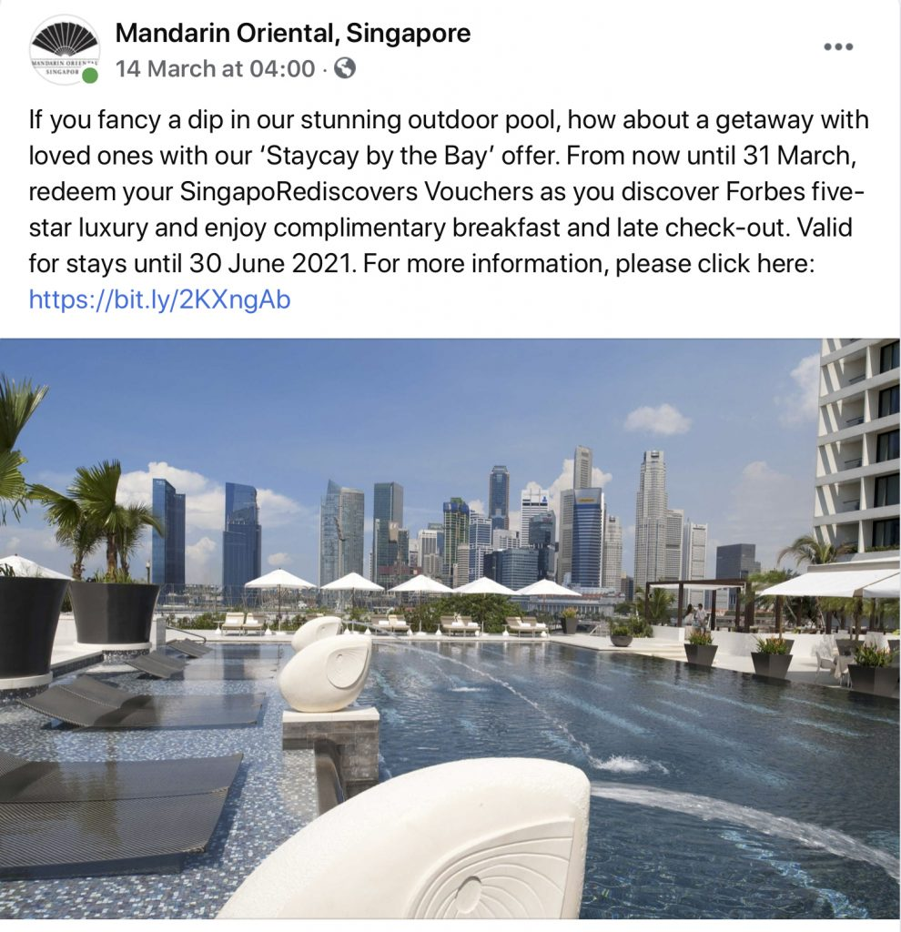 A facebook post highlighting staycations in Singapore