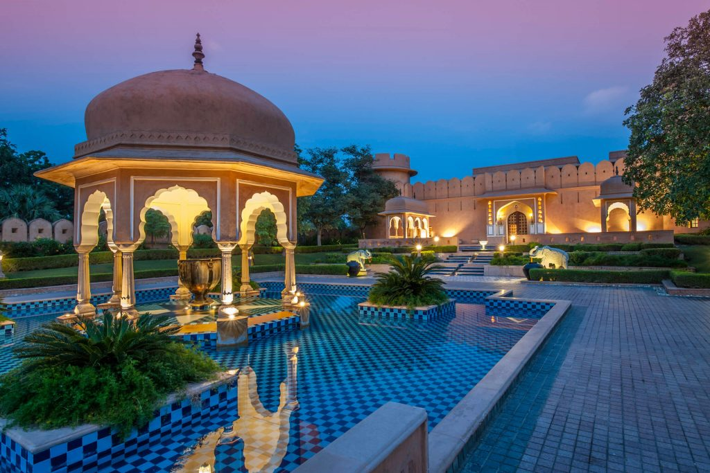 The Oberoi Rajvilas at sunset, a huge property, no need to worry about social distance problems here.