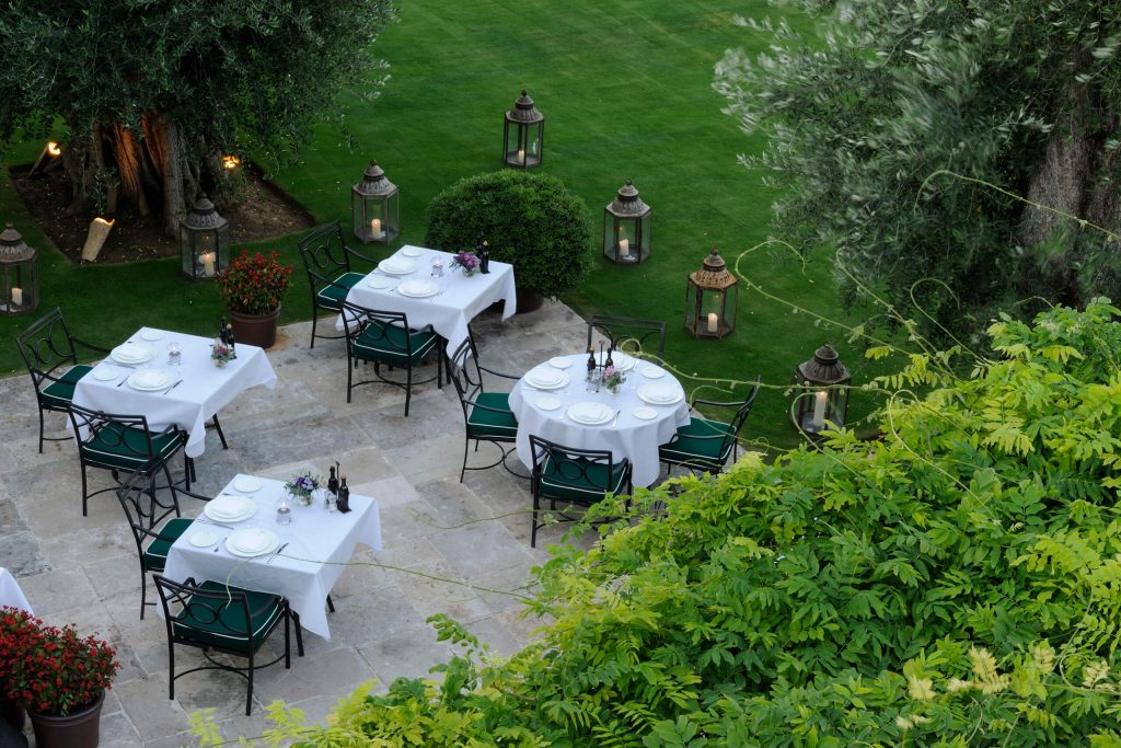 Al fresco dining, in the gardens of Finca Cortesin. Picture credit Htel Essence Photography / Michelle Chaplow